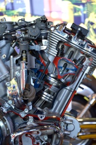 A cut-away V-rod engine.