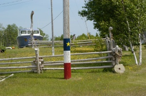 The Acadian flag makes this property as owned by Acadians