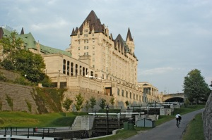 The last series of locks and the Chateau Laurier