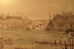 Col. By's drawing of the last canal locks under construction as seen from the Gatineau side of the Ottawa River.