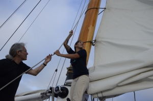Hoisting sail on the America II