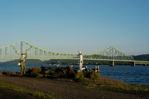 The J. C. Van Horne Bridge spans the Restigouche River.