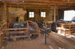 Inside the water-powered sawmill